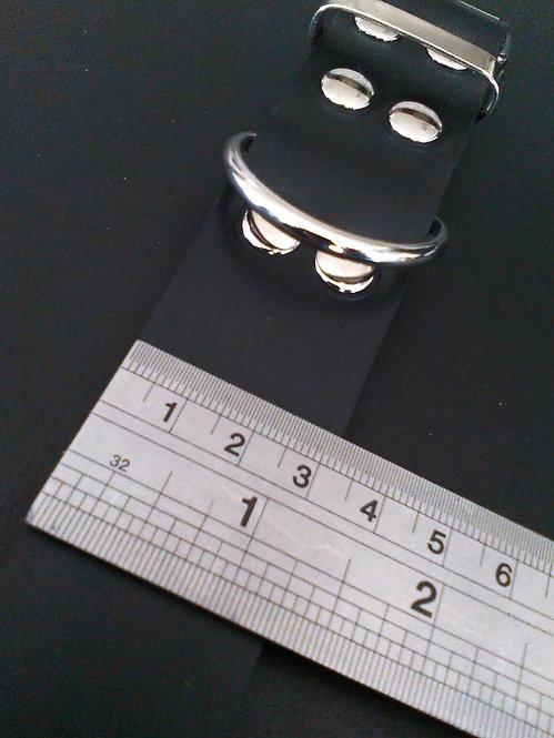 3.2cm Italian Leather Dog Collar (Black)