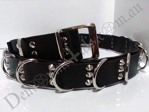Pyramid Stud & D'ring Leather Belt