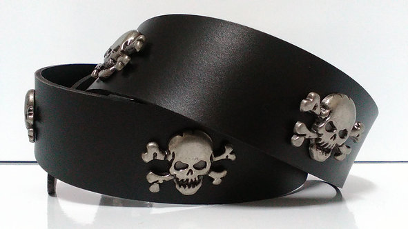 SKULL & CROSSBONES BLACK LEATHER BELT