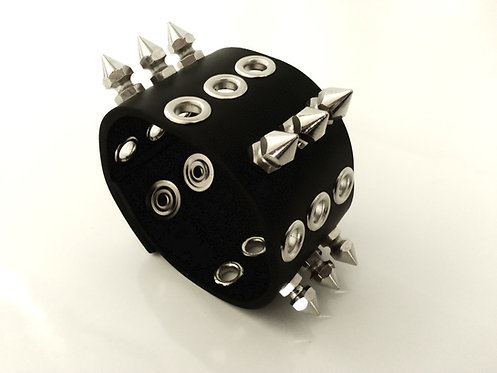 X3 SPIKE AND EYELET BLACK LEATHER WRISTBAND