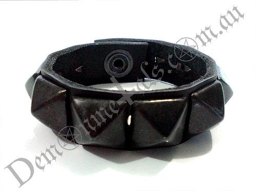 Single Black Square Pyramid Studded Wristband