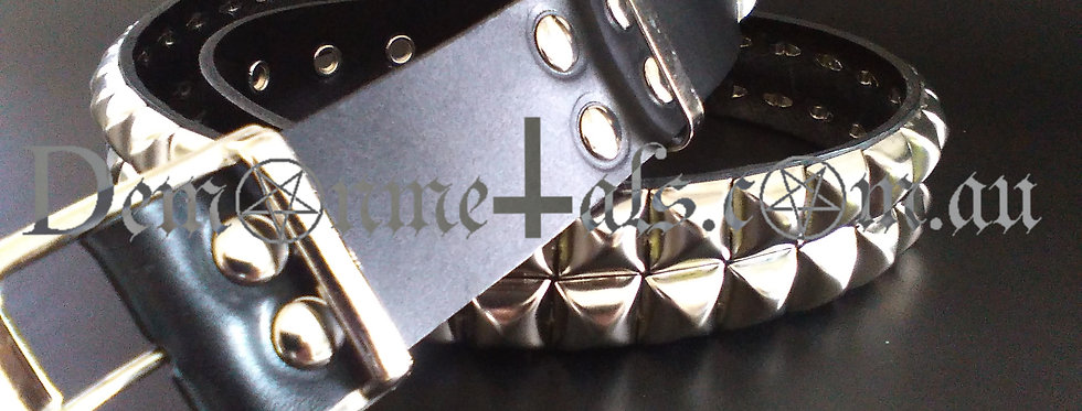 x2 16mm SQUARE (CHROME) PYRAMID STUDDED BELT