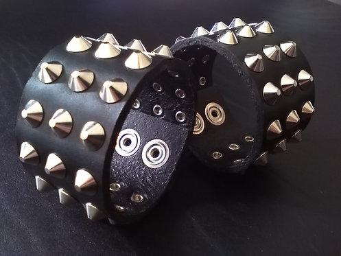 Full Round Pyramid Studded Wristband
