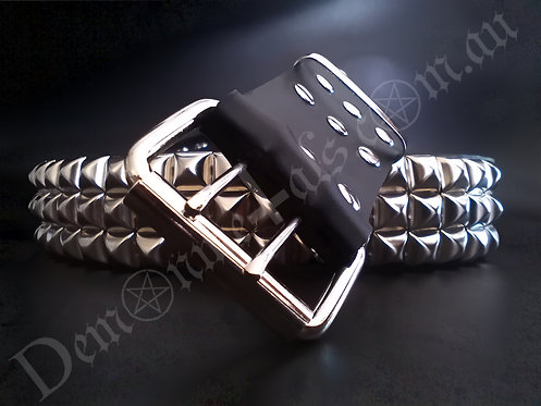 X3 16MM SQUARE (CHROME) PYRAMID STUDDED BELT
