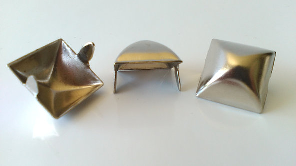 (10 Pack) Large 16mm Chrome Square Pyramid Studs