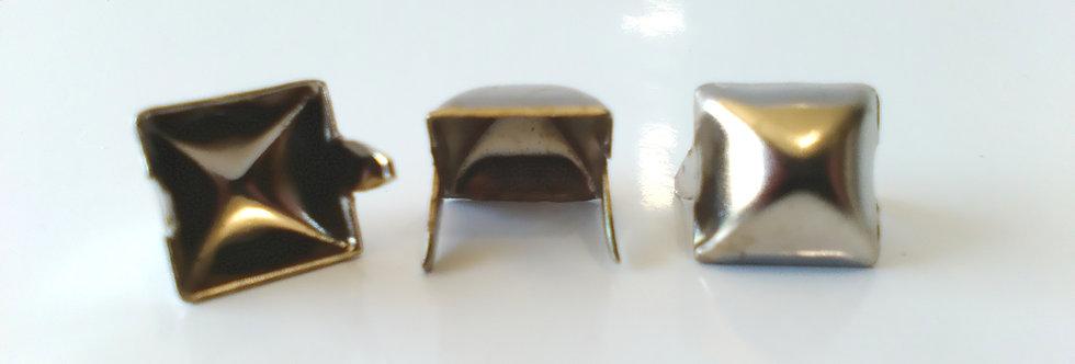 10mm CHROME SQUARE PYRAMID STUDS (20 PACK)