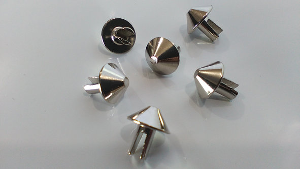 (100 PACK) ROUND CHROME PYRAMID SPLIT PIN STUDS