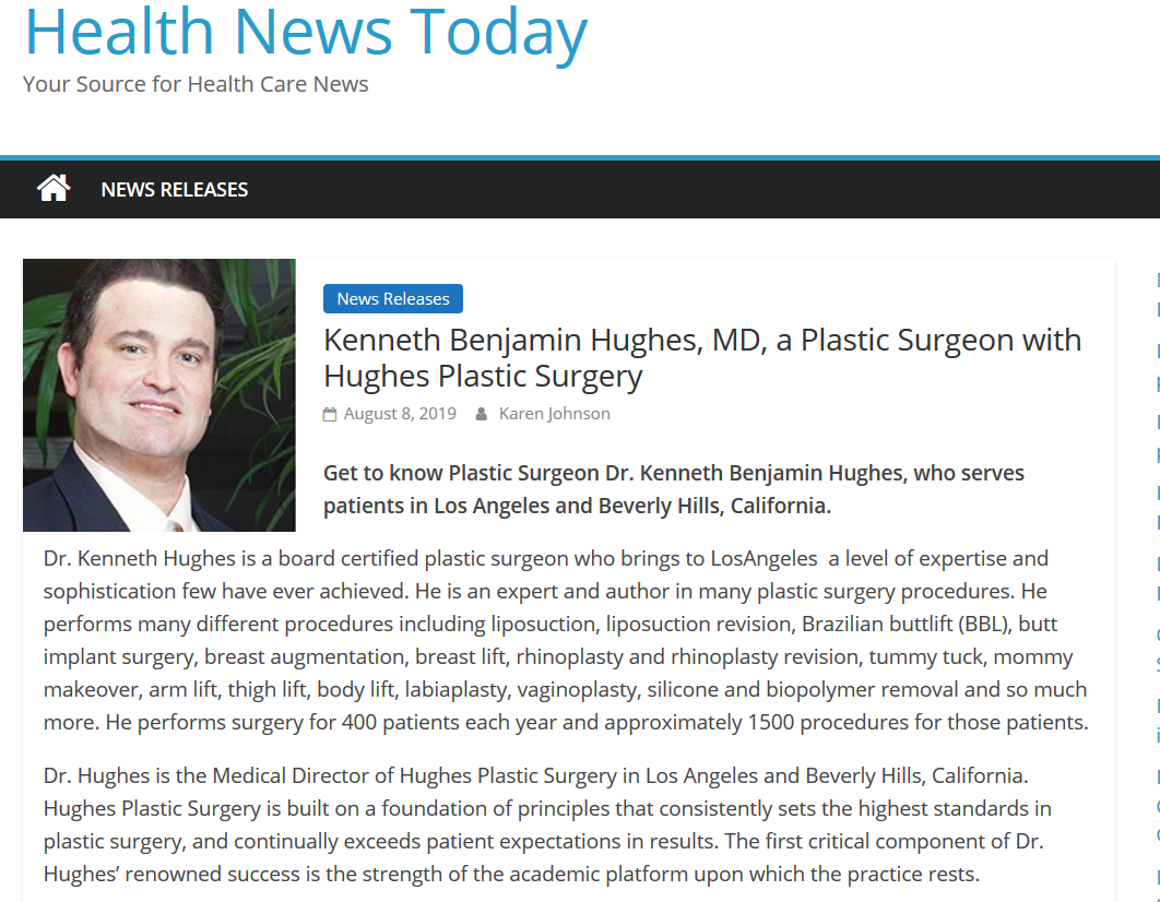 Kenneth Benjamin Hughes, Best Los Angeles Plastic Surgeon
