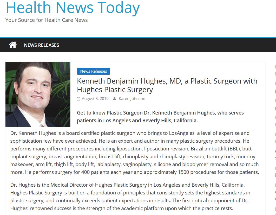 Kenneth Benjamin Hughes, Best Los Angeles Plastic Surgeon