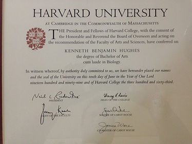 Dr. Kenneth Benjamin Hughes Harvard University Diploma