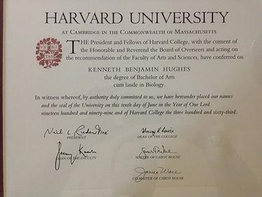 Dr. Kenneth Benjamin Hughes Harvard University Diploma