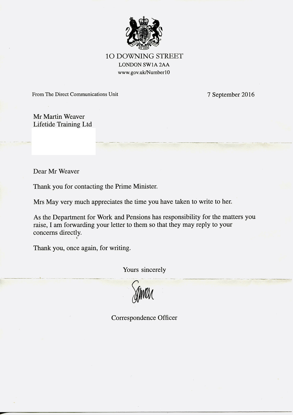 Reply from Mrs May's Office
