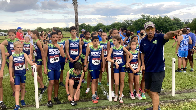 Coach Alan Crate leads the charge @ The 39th Annual Spanish River XC Invitational !