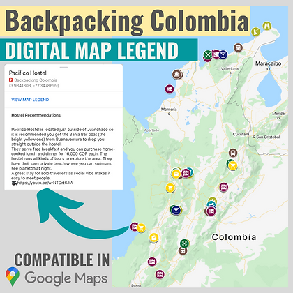 Backpacking Colombia Google Map Legend