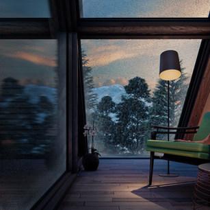 Winter Cabin - Interior View