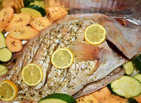 Herb-Baked Hog Fish with Vegetable Medley
