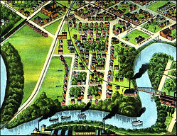 Drawing of homes and roads