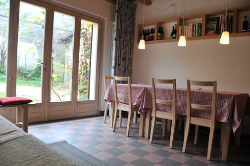the dining area in the living