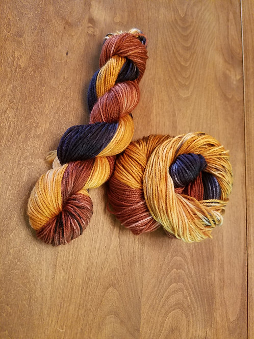 Fall leaves hand dyed yarn
