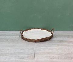 Round French Tray  w/ White Lining