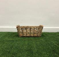 V Weave Rectangle Basket with Wooden Handle