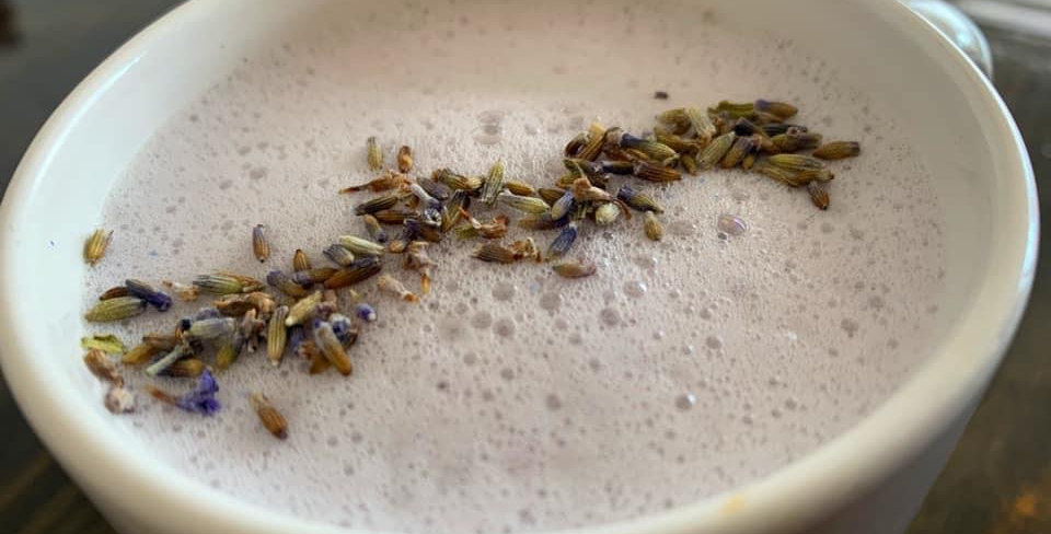 Creamy Honey Lavender Latte (Compostable to go cup)