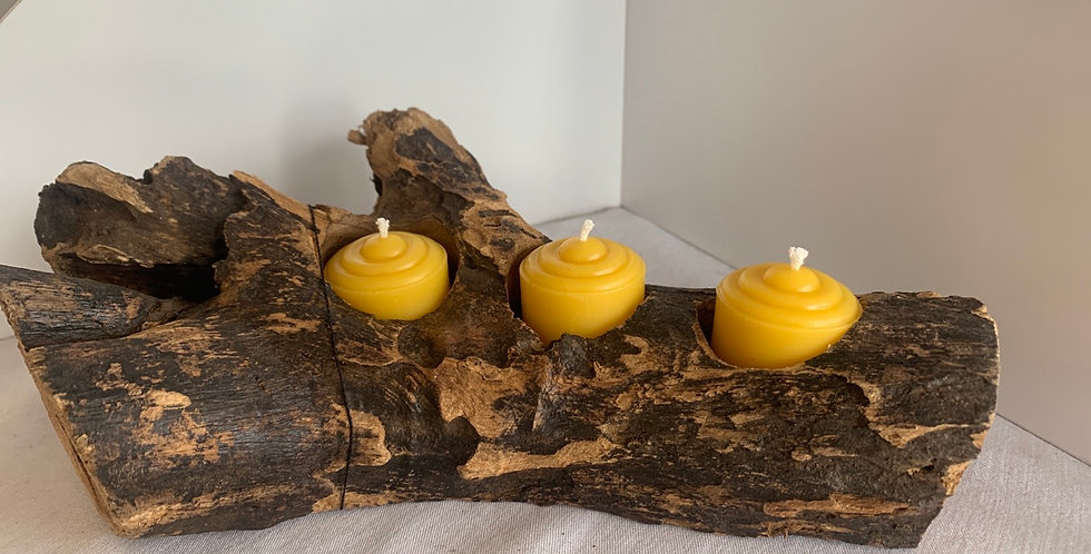 Votive with ripple beeswax candle