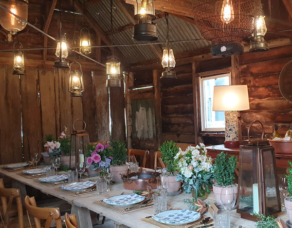 The Convict Slab Hut set for lunch