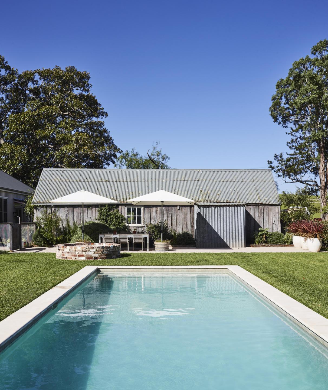 Swimming pool with slab hut
