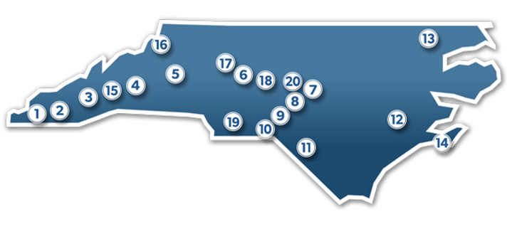 Serving all 100 counties of North Carolina through 19 statewide locations.