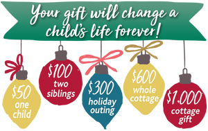 Your gift will change a child's life forever! Choose from one of five giving levels.
