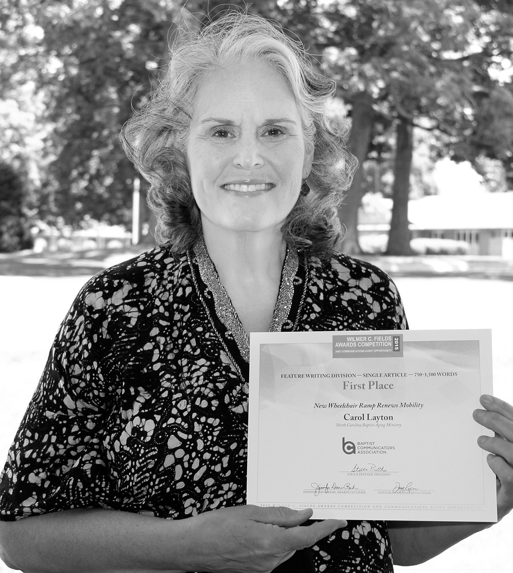 NCBAM's Carol Layton received two awards from the Baptist Communicators Association's annual awards competition.