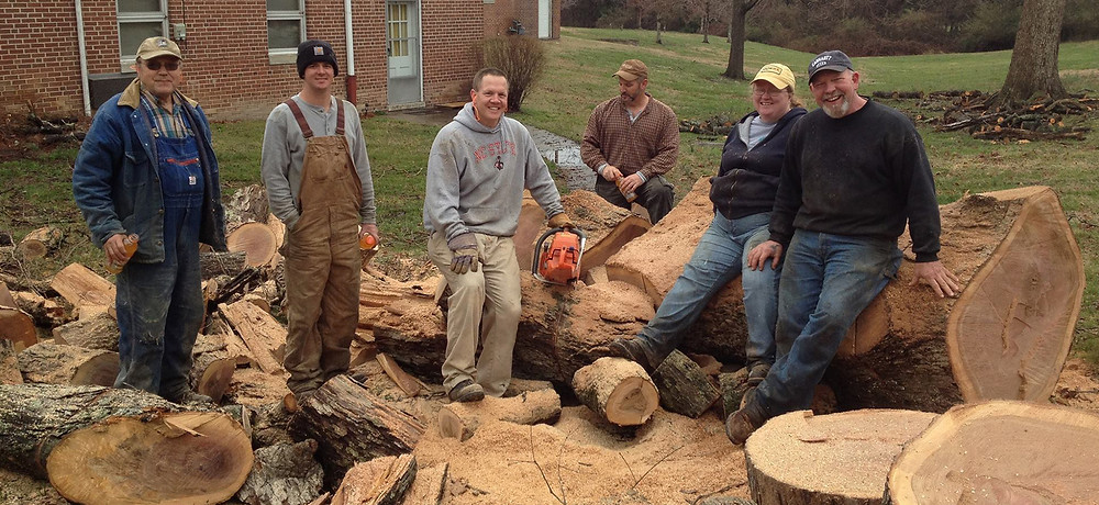 Polkville Baptist had a great time cleaning up trees around campus today. We als