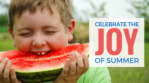 Boy biting into watermelon with delight
