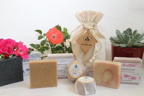 pochon de savons et shampoings solides à offrir, pour toute la famille