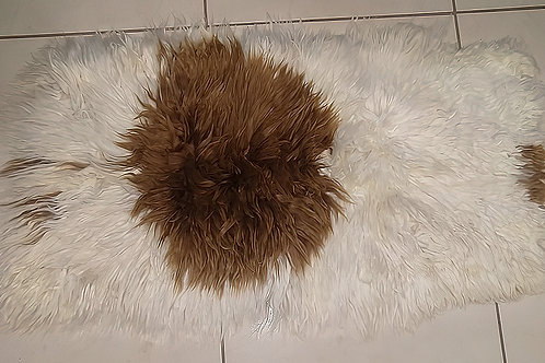 Small White and Brown Surry Alpaca Rug