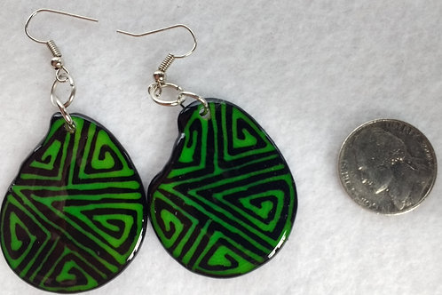 Tagua Earrings Painted in Batik Style, Green
