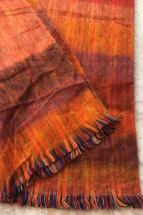 Orange Striped Alpaca Blanket Scarf