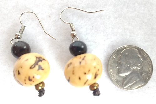 Palm Berry Earrings, White/Natural and Dark Brown