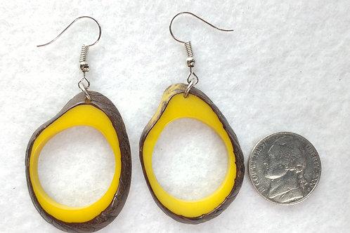 Tagua Earrings, Shell On, Yellow