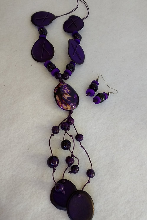 Tagua Necklace and Earring Set