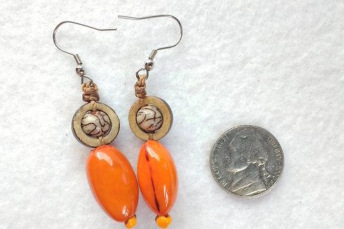 Tagua Earrings, Orange