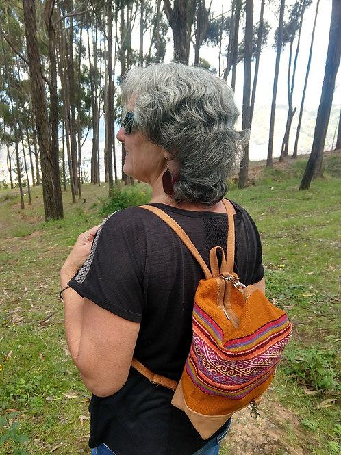 Small Orange Inca Design Backpack