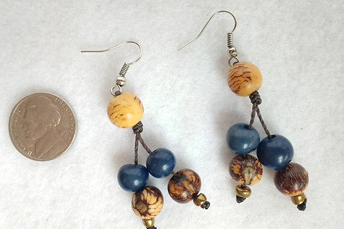 Acai Berry Earrings, Blue and Natural