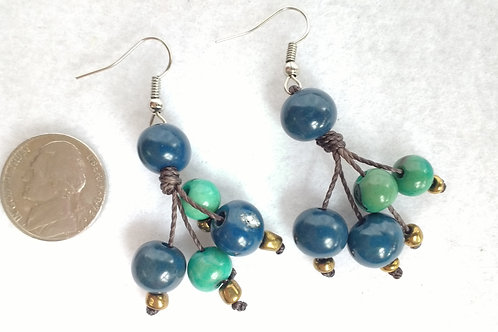 Acai Berry Earrings, Blue and Green