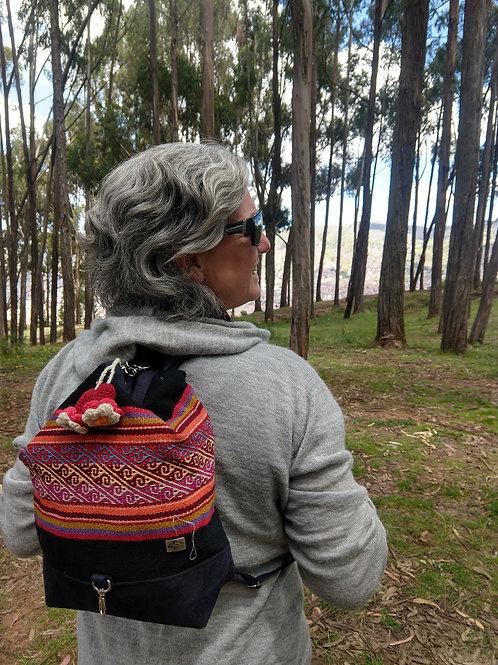 Small Black Inca Design Backpack