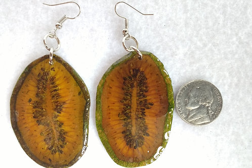 Real Fruit Earrings, Kiwi Slices Dyed Green