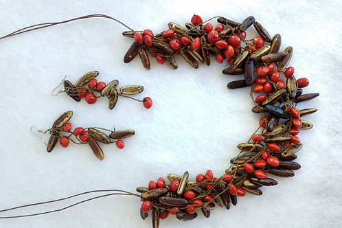 Seeds and Berries Necklace and Earring Set