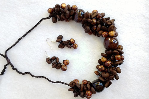 Coffee Bean Necklace and Earring Set