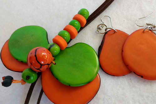 Tagua Dragon Fly Necklace and Earring Set